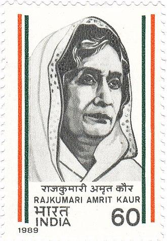 Amrit Kaur - Amrit Kaur on a 1989 stamp of India