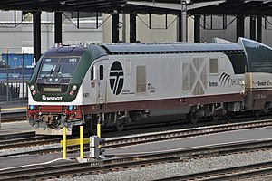 Amtrak Cascades 1401 - Siemens Charger engine at King Street Station, Seattle, WA - 01.jpg
