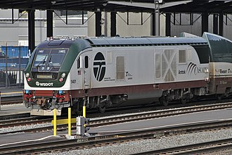 Siemens Charger - Image: Amtrak Cascades 1401 Siemens Charger engine at King Street Station, Seattle, WA 01