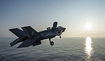 An F-35B Lightning II aircraft takes off from USS Wasp (LHD 1). (41661645150).jpg