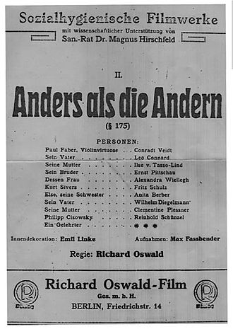 Different from the Others - German poster for Anders als die Andern