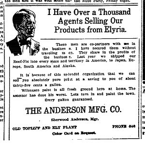 Sherwood Anderson - Advertisement for the Anderson Manufacturing Co., a company owned by Sherwood Anderson from 1907-1913, almost a decade before he became a well-known author.