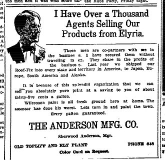 Sherwood Anderson - Advertisement for the Anderson Manufacturing Co., a company owned by Sherwood Anderson from 1907-1913, almost a decade before he became a well-known author