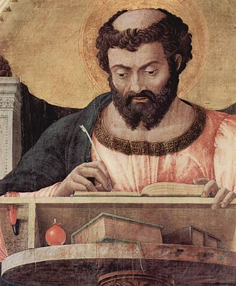 Saint Luke the Evangelist, one of the four writers of the Gospels, was said to be a physician. Andrea Mantegna 017.jpg
