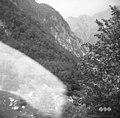 Andrejččeva pristaja (v ozadju Jerebica) - hlev z drugimi prostori za začasno bivanje živine pred dokončnim odhodom na planino 1952.jpg