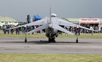 Dihedral (aeronautics) - Anhedral on the wings and tailplane of an RAF Harrier GR7A