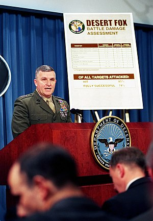 Bombing of Iraq (1998) - Gen. Anthony C. Zinni briefs reporters at The Pentagon following Operation Desert Fox, 21 December 1998.