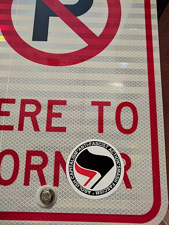 Antifa (United States) - Image: Antifa sticker on No Parking sign