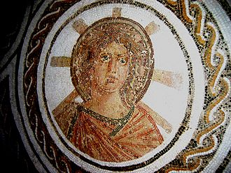 Helios - Solar Apollo with the radiant halo of Helios in a Roman floor mosaic, El Djem, Tunisia, late 2nd century
