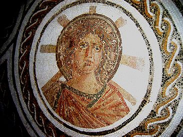 Apollo with a radiant halo in a Roman floor mosaic, El Djem, Tunisia, late 2nd century