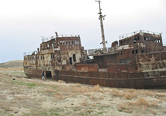 Water scarcity - An abandoned ship in the former Aral Sea, near Aral, Kazakhstan