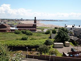 Ardrossan South Beach from the Castle Hill.JPG