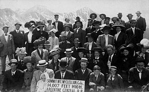 Argentine Central Railway - Passengers atop Mount McClellan in 1910.