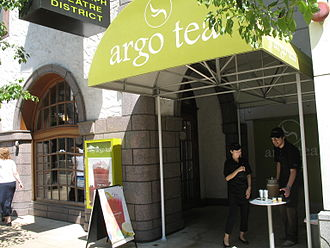 Argo Tea - Employees passing out drink samples at the current headquarters