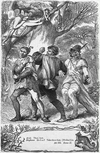 Stephano (The Tempest) - Ariel taunts Stephano (centre) into hitting Trinculo. Illustration by H. C. Selous