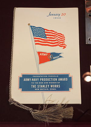 Stanley Black & Decker - Image: Army Navy Production Award to Stanley Works, presentation program, January 20, 1943 New Britain Industrial Museum DSC09905