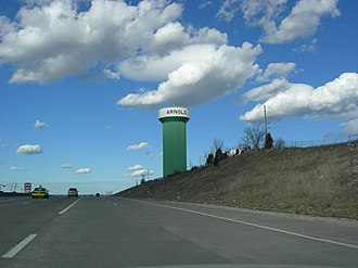 Arnold, Missouri - Arnold Water Tower from I-55 North (Now Sky Blue since Nov. 2015)