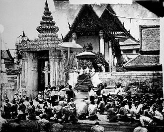 Wat Pho - Arrival of the King of Siam at Wat Pho, 13 October 1865.