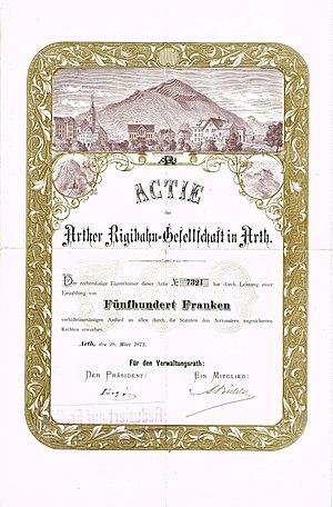 Rigi Railways - Share of the Arther Rigibahn-Gesellschaft, issued 28. March 1873