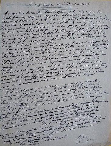 Рукопись статьи Альфреда Капю «Требования интернационала», вышедшая 10 сентября 1920 года в «Le Gaulois» под заголовком «Условия Ленина»