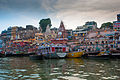 Assembly of boats in Dasashwamedh Ghat in the evening before Arati, Varanasi 03.jpg