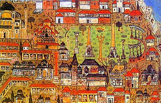 Arslan Hane, Istanbul - Miniature of the Hippodrome of Constantinople by Ottoman Miniaturist Matrakci Nasuh, appeared in 1536. The Arslan Hane is the large red-orange domed building with a terrace, just left of the blooming meadow (the former Hippodrome site) and right of the Hagia Sophia