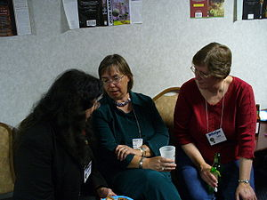 Beth Meacham - Beth Meacham (center), with Avedon Carol and Lois McMaster Bujold at Wiscon in 2006