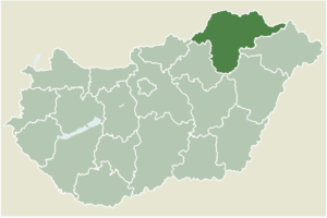 Tállya - Location of Borsod-Abaúj-Zemplén county in Hungary