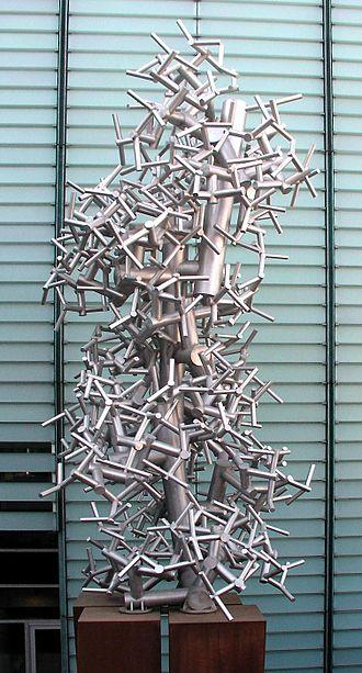 Bibliothèque et Archives nationales du Québec - Jean-Pierre Morin's sculpture Espace Fractal outside Bibliothèque et Archives nationales du Québec in Montreal Canada