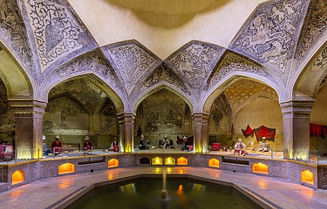 View of the Vakil Bath, an old public bath with the status of national monument built around 1769 in Shiraz, Iran.