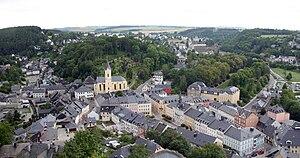 Bad Lobenstein - Bad Lobenstein - downtown area with church