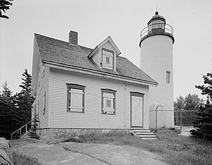 National Register of Historic Places listings in Hancock County, Maine - Image: Baker Island Light, Lightkeeper's House, Just east of Cranberry Isles, at entrance to Frenc, Baker Island (Hancock County, Mainre)