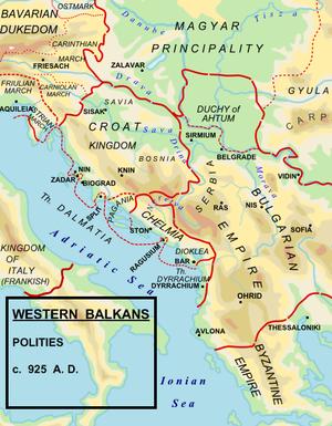 Michael of Zahumlje - Map of the territorial extent of Michael's Chelmia (Zahumlje) at its zenith, between the Kingdom of Croatia and the Bulgarian Empire.