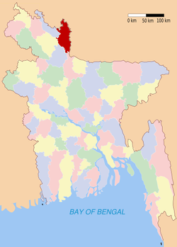 Location of Kurigram in Bangladesh