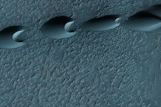 Dune - Isolated barchan dunes on the surface of Mars. Dominant wind direction would be from left to right.
