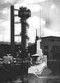Barracuda-class SSK at Pearl Harbor Submarine Diver Training Tower in 1955.jpg
