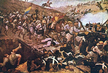 The Battle of Boyaca was the decisive battle that ensured success of the liberation campaign of New Granada. Batalla de Boyaca de Martin Tovar y Tovar.jpg