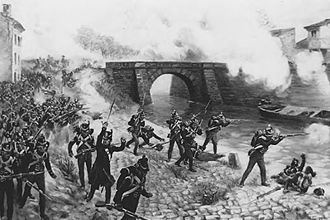 Battle of Toulouse (1814) - British infantry exchanging fire with the French during the battle of Toulouse in 1814. Print after Henri Dupray.
