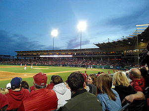 Arkansas Razorbacks baseball - A game in progress in Baum Stadium, April 2013