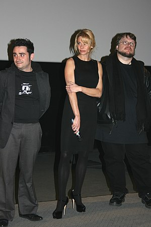 The Orphanage (film) - Juan Antonio Bayona, Belén Rueda and Guillermo del Toro at a French premiere of The Orphanage in Paris on January 28, 2008.