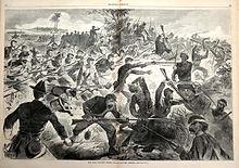 Grabado de la caótica escena de batalla.