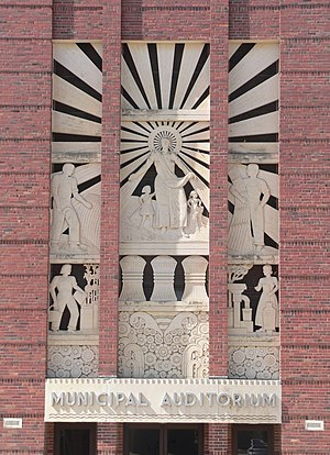 National Register of Historic Places listings in Gage County, Nebraska - Image: Beatrice, Nebraska Municipal Auditorium E bas relief