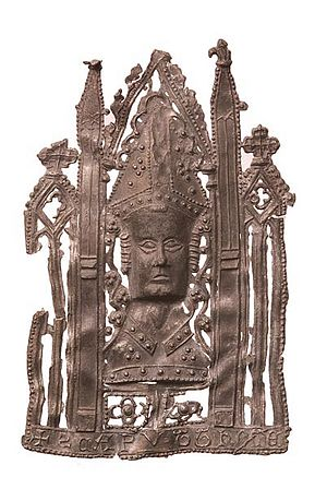 Pilgrim badge - This badge represents the ornate head reliquary of St Thomas Becket and was probably sold near his shrine in Canterbury