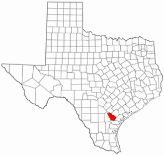 National Register of Historic Places listings in Bee County, Texas - Location of Bee County in Texas