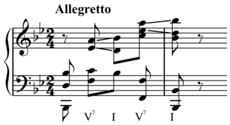 Resolution (music) - Image: Beethoven Piano Sonata in B flat major, Op. 22 dominant seventh