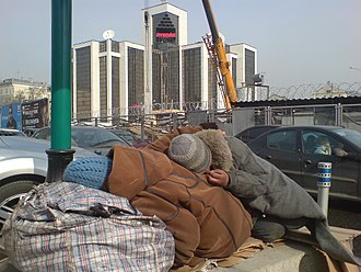 "Pauperism - Homeless sleep near the ""LUKOIL"" in Moscow"