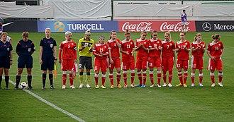 Belarus women's national football team - Belarus women's national team in the 2015 FIFA Women's World Cup qualification – UEFA Group 6 match against Turkey on September 17, 2014.