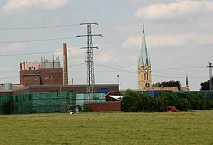 Bellheim - Brewery and catholic church of St. Nikolaus