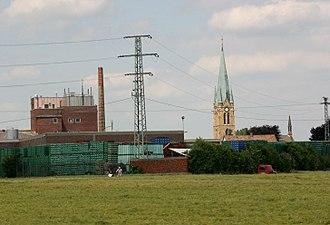 Bellheim - Brewery and catholic church of St. Nikolaus