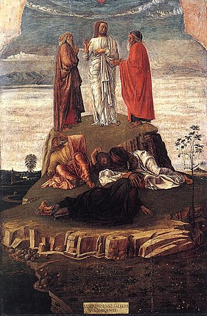 Transfiguration of Christ (Bellini) - Transfiguration (c. 1455-1460). Museo Correr, Venice.